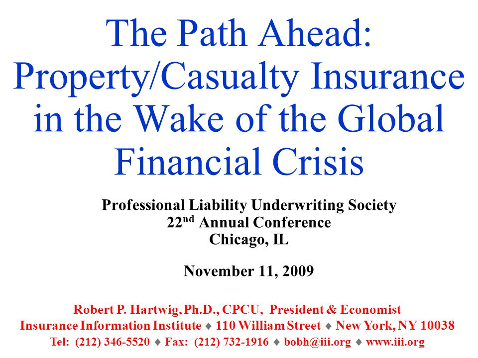 The Path Ahead: Property/Casualty Insurance in the Wake of the Global Financial Crisis Professional Liability Underwriting Society 22 nd Annual Conference Chicago, IL November 11, 2009 Robert P.