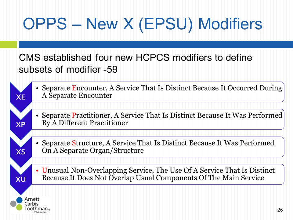 OPPS – New X (EPSU) Modifiers CMS established four new HCPCS modifiers to define subsets of modifier -59 26