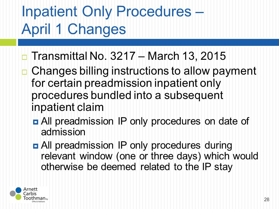 Inpatient Only Procedures – April 1 Changes  Transmittal No.