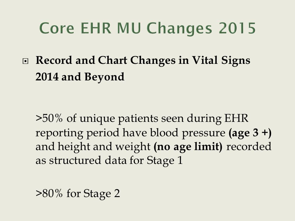  Record and Chart Changes in Vital Signs 2014 and Beyond >50% of unique patients seen during EHR reporting period have blood pressure (age 3 +) and h