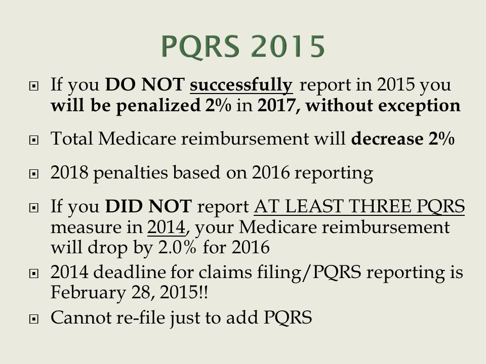  If you DO NOT successfully report in 2015 you will be penalized 2% in 2017, without exception  Total Medicare reimbursement will decrease 2%  2018