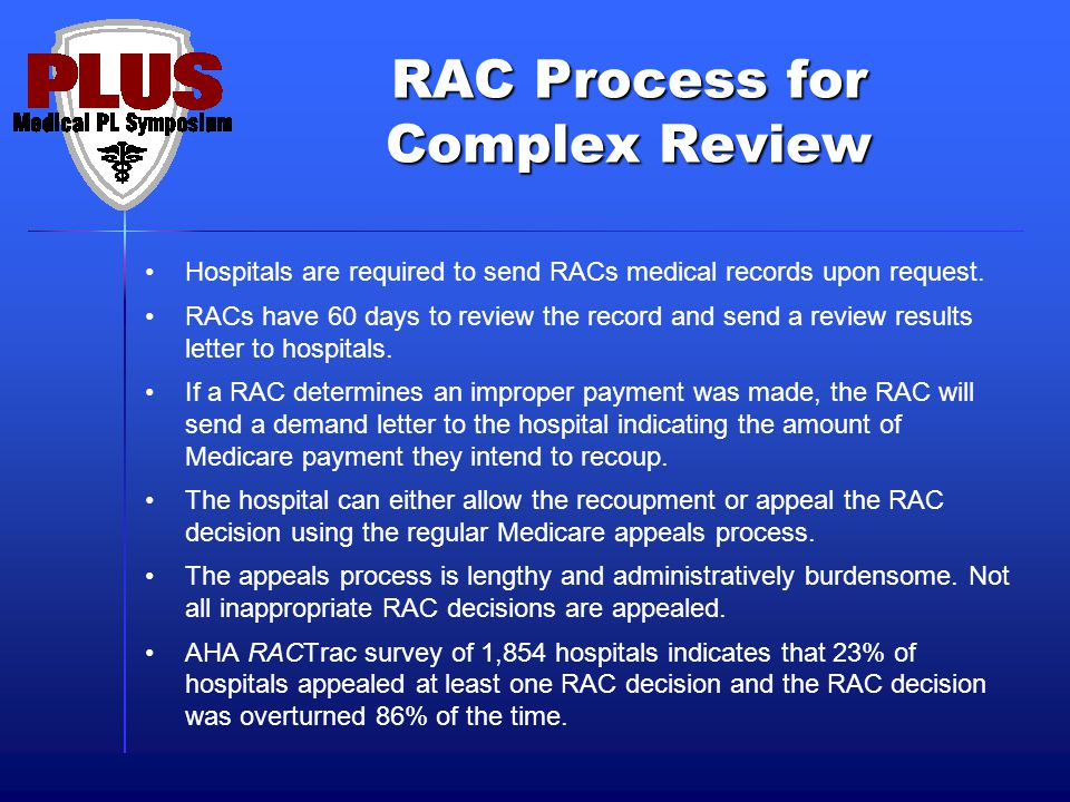 RAC Process for Complex Review Hospitals are required to send RACs medical records upon request.