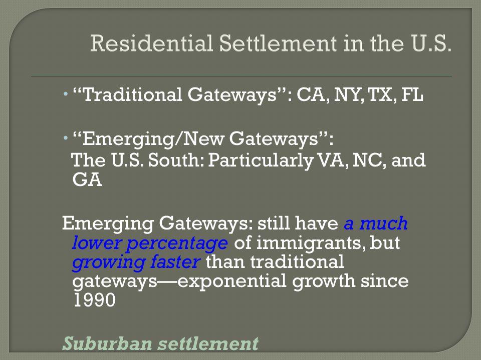 " ""Traditional Gateways"": CA, NY, TX, FL  ""Emerging/New Gateways"": The U.S. South: Particularly VA, NC, and GA Emerging Gateways: still have a much l"