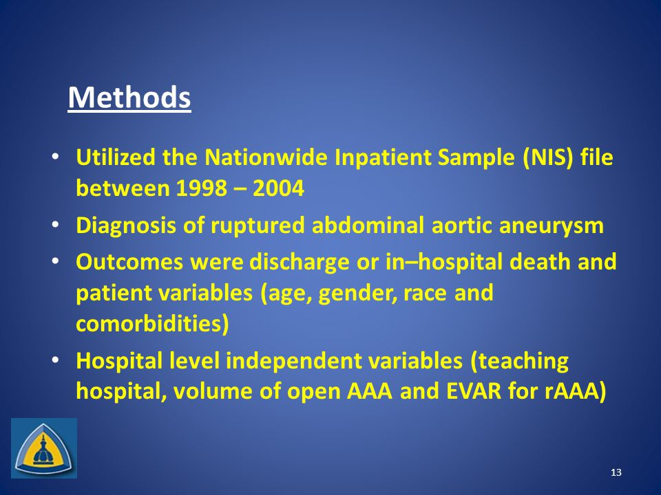 Methods Utilized the Nationwide Inpatient Sample (NIS) file between 1998 – 2004 Diagnosis of ruptured abdominal aortic aneurysm Outcomes were discharge or in–hospital death and patient variables (age, gender, race and comorbidities) Hospital level independent variables (teaching hospital, volume of open AAA and EVAR for rAAA) 13