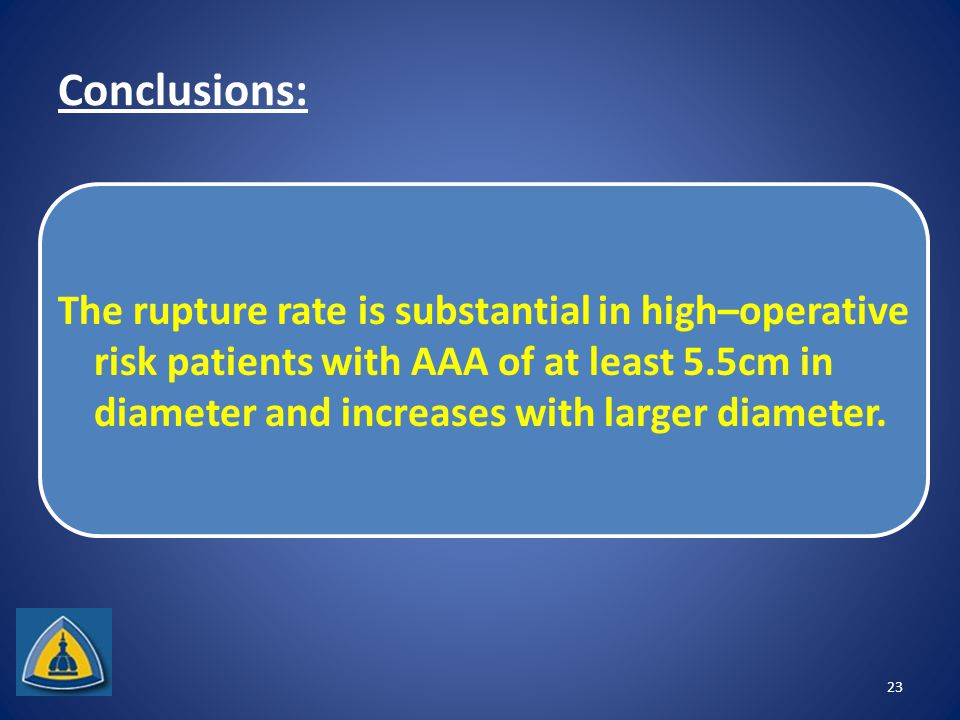 Conclusions: The rupture rate is substantial in high–operative risk patients with AAA of at least 5.5cm in diameter and increases with larger diameter.