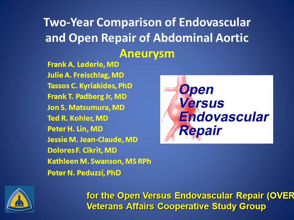 Two-Year Comparison of Endovascular and Open Repair of Abdominal Aortic Aneurysm Frank A.