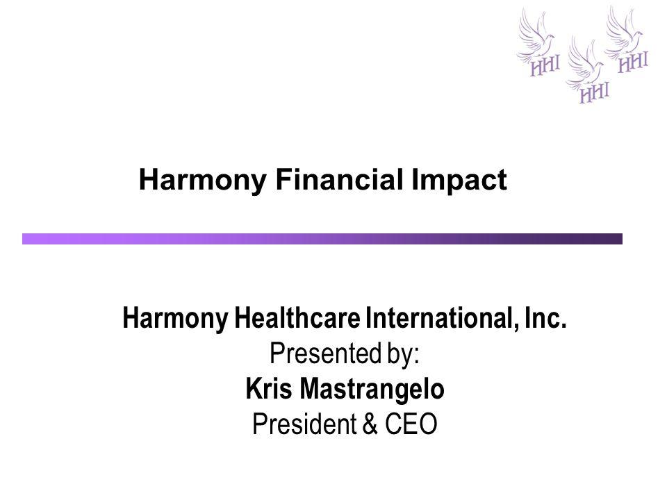 Harmony Financial Impact Harmony Healthcare International, Inc.