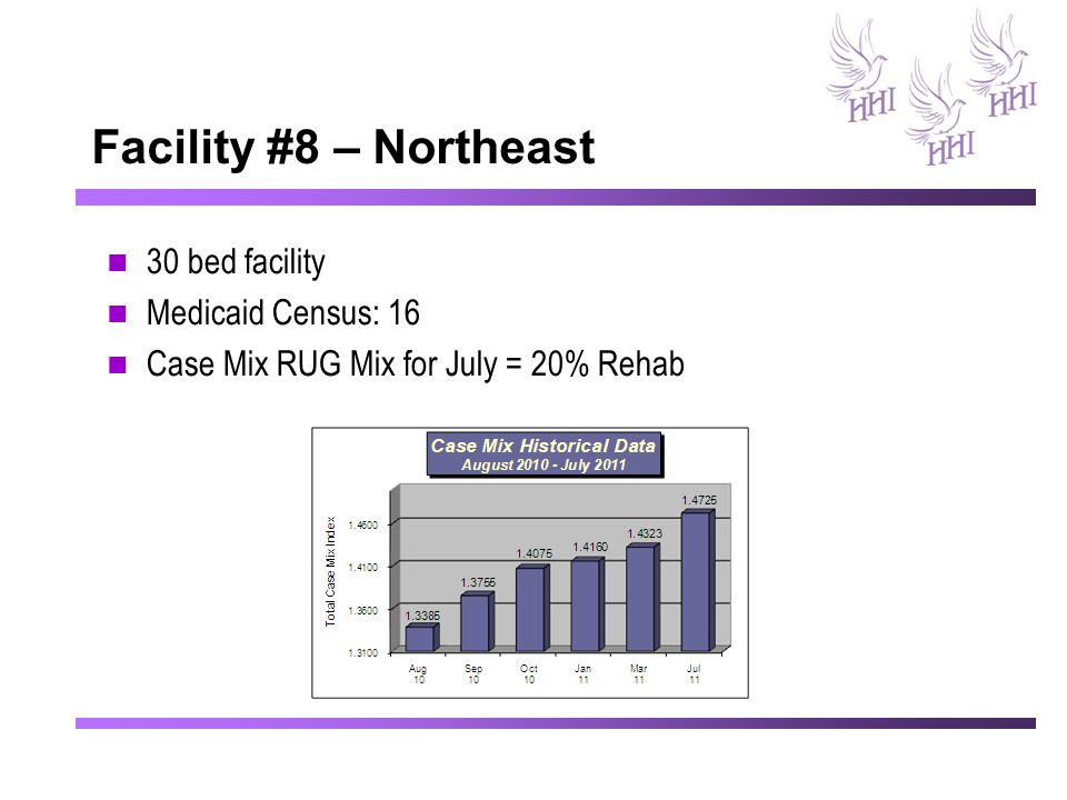 Facility #8 – Northeast 30 bed facility Medicaid Census: 16 Case Mix RUG Mix for July = 20% Rehab