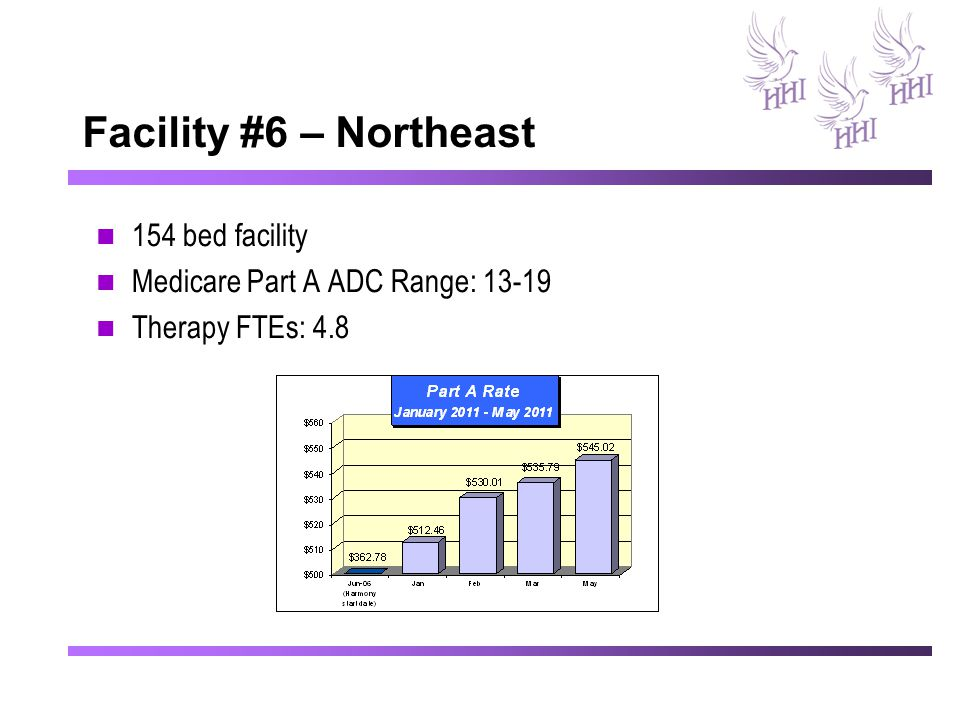 Facility #6 – Northeast 154 bed facility Medicare Part A ADC Range: 13-19 Therapy FTEs: 4.8