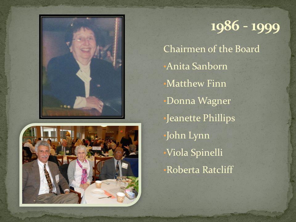 Chairmen of the Board Anita Sanborn Matthew Finn Donna Wagner Jeanette Phillips John Lynn Viola Spinelli Roberta Ratcliff