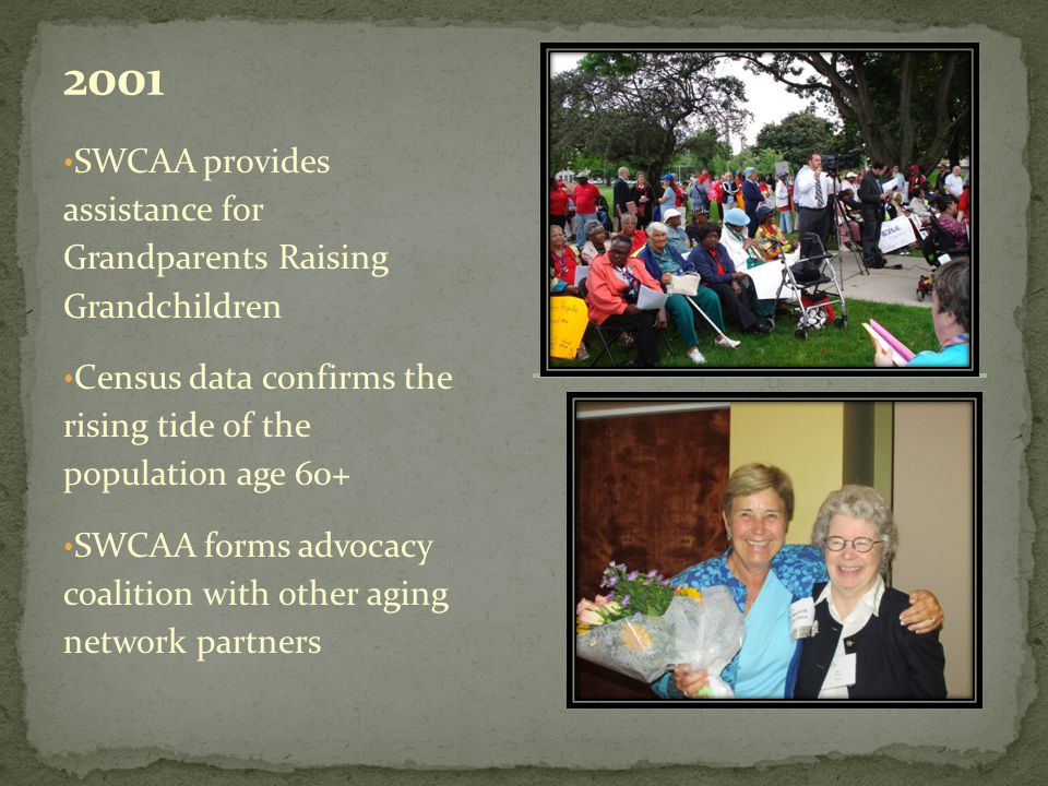 SWCAA provides assistance for Grandparents Raising Grandchildren Census data confirms the rising tide of the population age 60+ SWCAA forms advocacy coalition with other aging network partners