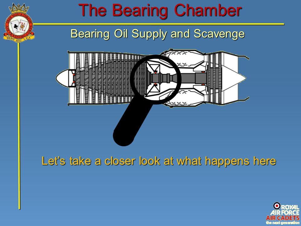 The Bearing Chamber Bearing Oil Supply and Scavenge Let's take a closer look at what happens here