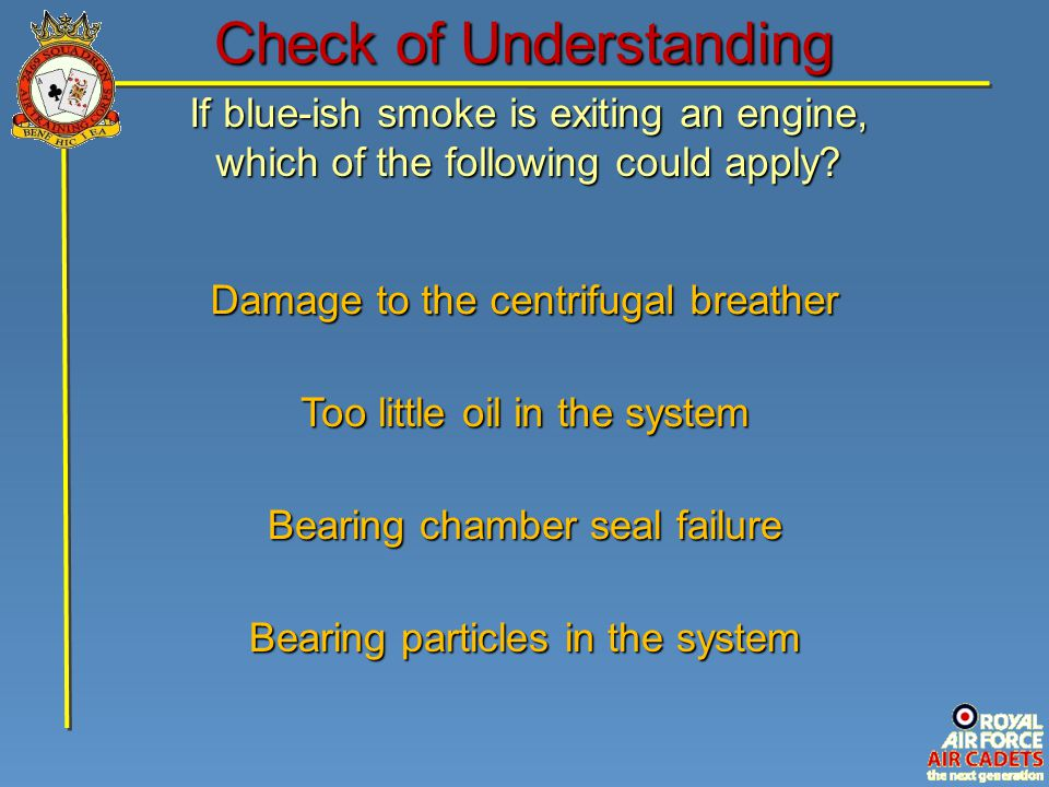If blue-ish smoke is exiting an engine, which of the following could apply.