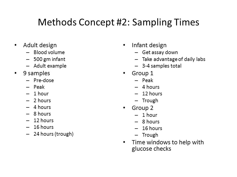 Methods Concept #2: Sampling Times Adult design – Blood volume – 500 gm infant – Adult example 9 samples – Pre-dose – Peak – 1 hour – 2 hours – 4 hours – 8 hours – 12 hours – 16 hours – 24 hours (trough) Infant design – Get assay down – Take advantage of daily labs – 3-4 samples total Group 1 – Peak – 4 hours – 12 hours – Trough Group 2 – 1 hour – 8 hours – 16 hours – Trough Time windows to help with glucose checks