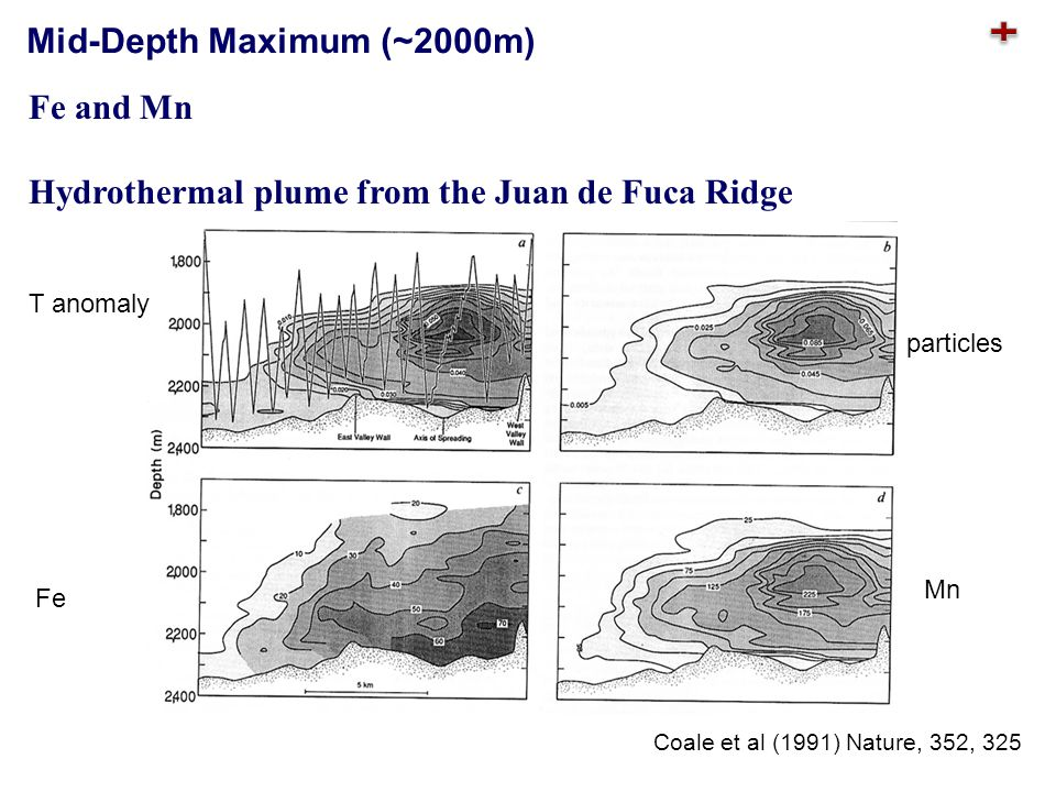 Fe and Mn Hydrothermal plume from the Juan de Fuca Ridge Fe Mn T anomaly particles Coale et al (1991) Nature, 352, 325 Mid-Depth Maximum (~2000m)