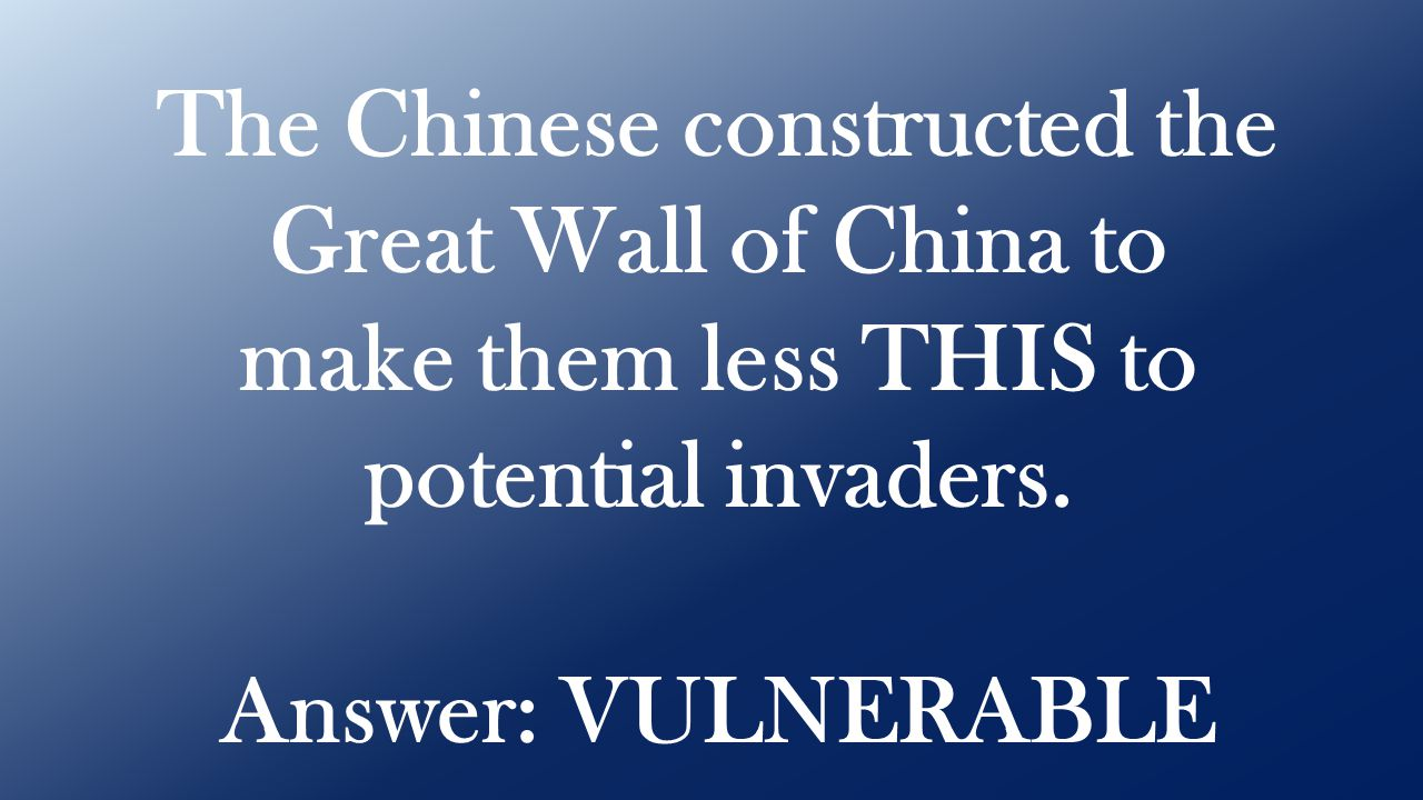 Answer: VULNERABLE