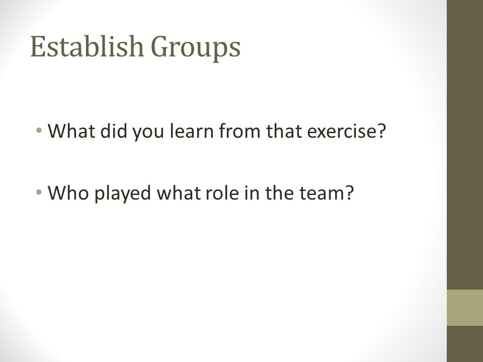 Establish Groups What did you learn from that exercise? Who played what role in the team?