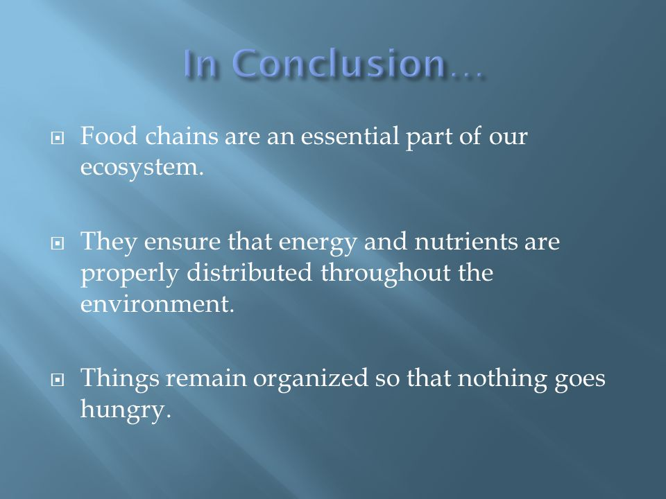  Food chains are an essential part of our ecosystem.