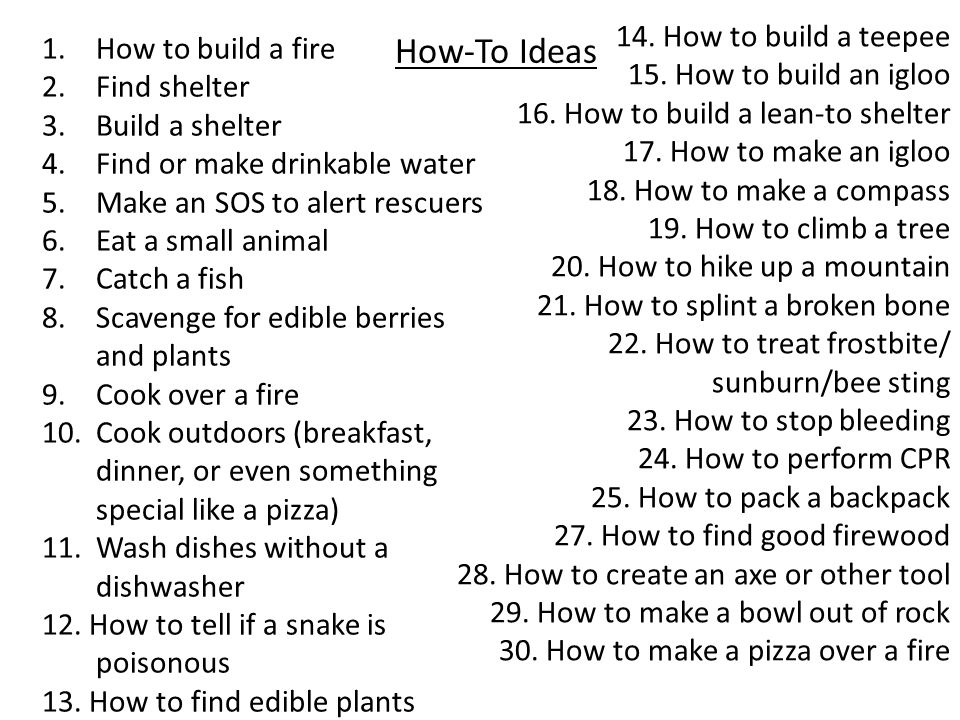 How-To Ideas 1.How to build a fire 2.Find shelter 3.Build a shelter 4.Find or make drinkable water 5.Make an SOS to alert rescuers 6.Eat a small anima
