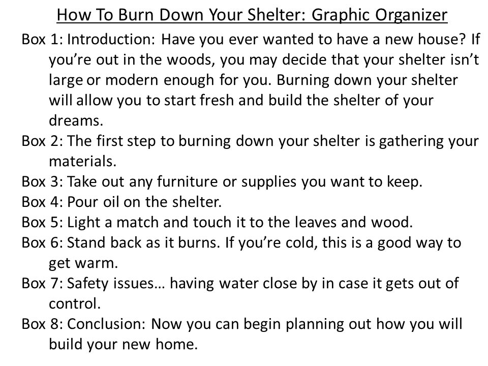 How To Burn Down Your Shelter: Graphic Organizer Box 1: Introduction: Have you ever wanted to have a new house? If you're out in the woods, you may de