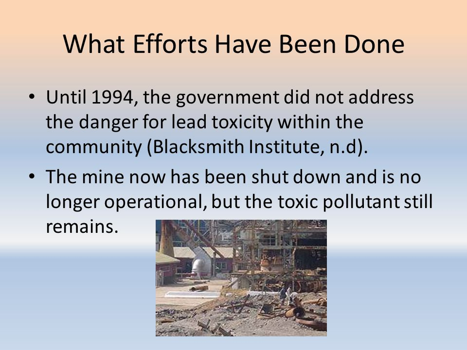 What Efforts Have Been Done Until 1994, the government did not address the danger for lead toxicity within the community (Blacksmith Institute, n.d).