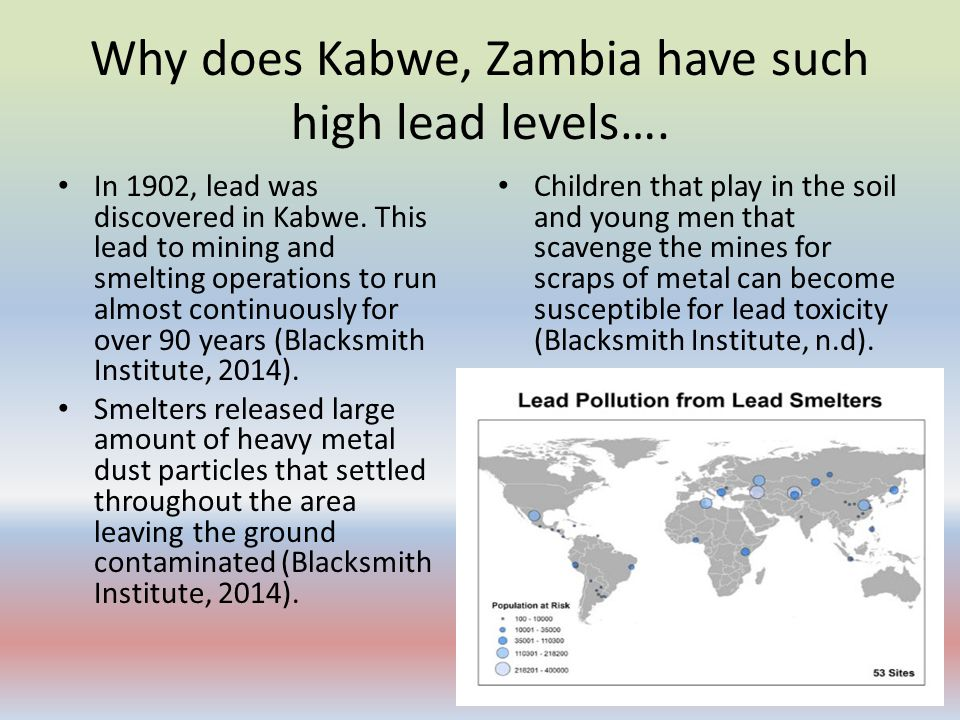 Why does Kabwe, Zambia have such high lead levels….