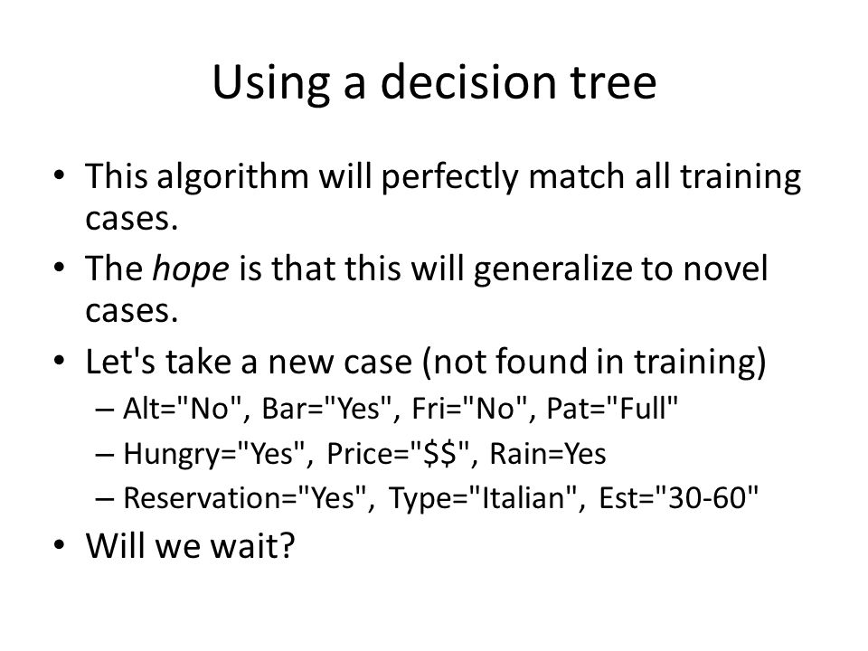 Using a decision tree This algorithm will perfectly match all training cases.