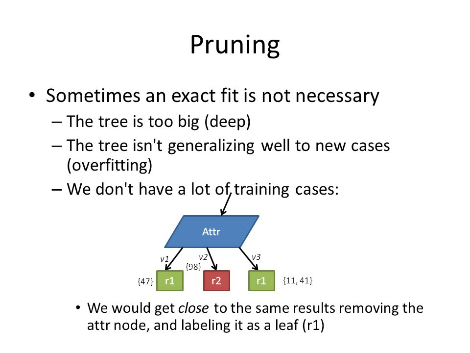 Pruning Sometimes an exact fit is not necessary – The tree is too big (deep) – The tree isn't generalizing well to new cases (overfitting) – We don't