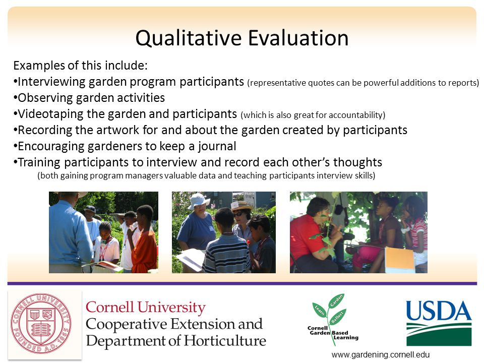 Qualitative Evaluation Examples of this include: Interviewing garden program participants (representative quotes can be powerful additions to reports) Observing garden activities Videotaping the garden and participants (which is also great for accountability) Recording the artwork for and about the garden created by participants Encouraging gardeners to keep a journal Training participants to interview and record each other's thoughts (both gaining program managers valuable data and teaching participants interview skills)