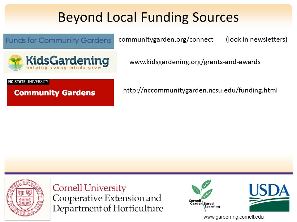 www.gardening.cornell.edu Beyond Local Funding Sources communitygarden.org/connect (look in newsletters) www.kidsgardening.org/grants-and-awards http://nccommunitygarden.ncsu.edu/funding.html