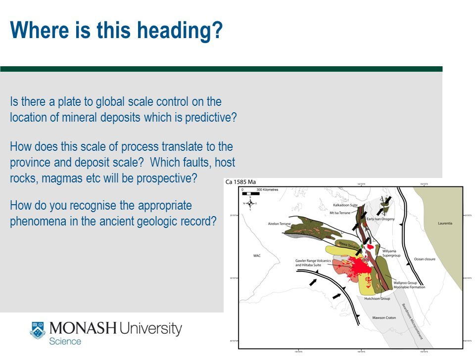 59 Where is this heading? Is there a plate to global scale control on the location of mineral deposits which is predictive? How does this scale of pro