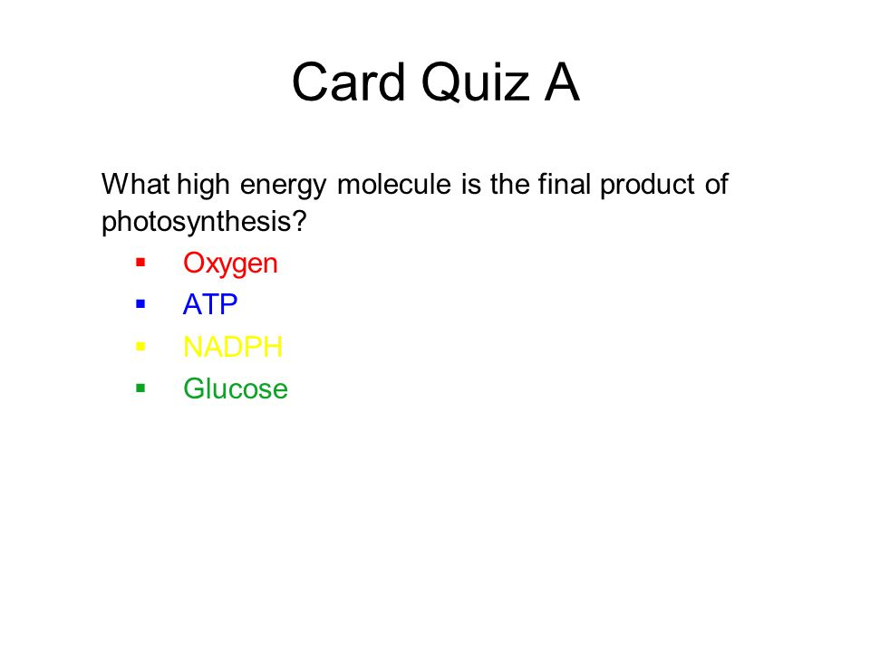 Card Quiz A What high energy molecule is the final product of photosynthesis.