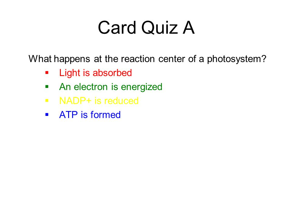 Card Quiz A What happens at the reaction center of a photosystem?  Light is absorbed  An electron is energized  NADP+ is reduced  ATP is formed