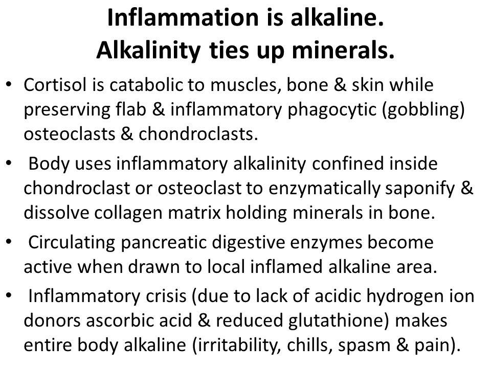 Inflammation is alkaline.Alkalinity ties up minerals.