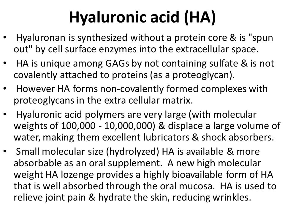Hyaluronic acid (HA) Hyaluronan is synthesized without a protein core & is spun out by cell surface enzymes into the extracellular space.