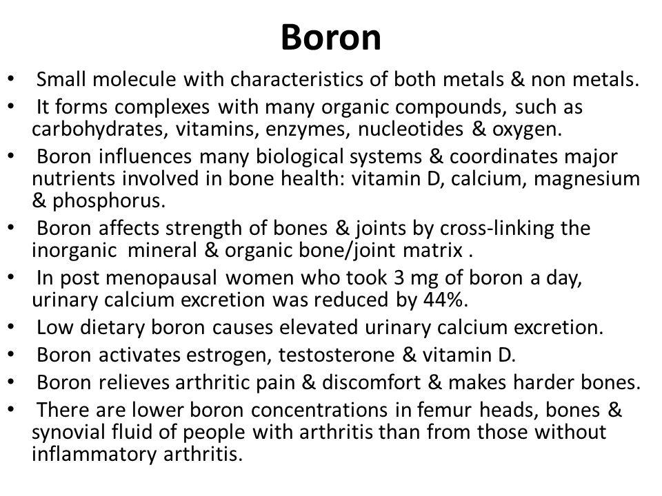 Boron Small molecule with characteristics of both metals & non metals.