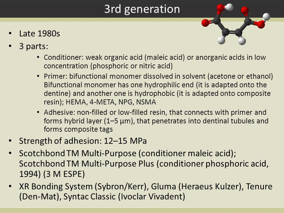 3rd generation Late 1980s 3 parts: Conditioner: weak organic acid (maleic acid) or anorganic acids in low concentration (phosphoric or nitric acid) Primer: bifunctional monomer dissolved in solvent (acetone or ethanol) Bifunctional monomer has one hydrophilic end (it is adapted onto the dentine) and another one is hydrophobic (it is adapted onto composite resin); HEMA, 4-META, NPG, NSMA Adhesive: non-filled or low-filled resin, that connects with primer and forms hybrid layer (1–5 µm), that penetrates into dentinal tubules and forms composite tags Strength of adhesion: 12–15 MPa Scotchbond TM Multi-Purpose (conditioner maleic acid); Scotchbond TM Multi-Purpose Plus (conditioner phosphoric acid, 1994) (3 M ESPE) XR Bonding System (Sybron/Kerr), Gluma (Heraeus Kulzer), Tenure (Den-Mat), Syntac Classic (Ivoclar Vivadent)