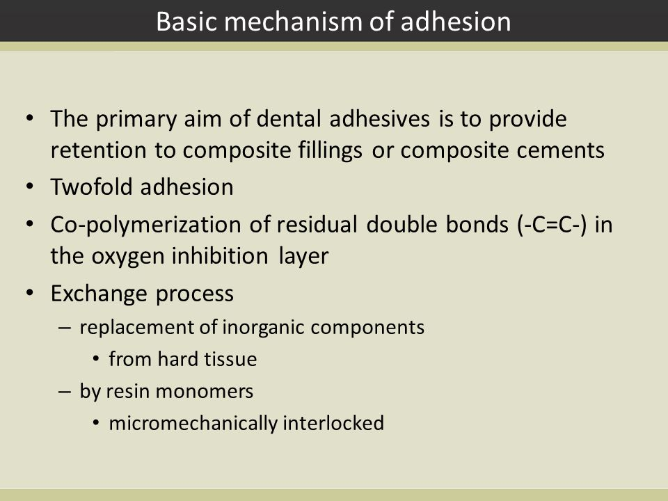 Basic mechanism of adhesion The primary aim of dental adhesives is to provide retention to composite fillings or composite cements Twofold adhesion Co-polymerization of residual double bonds (-C=C-) in the oxygen inhibition layer Exchange process – replacement of inorganic components from hard tissue – by resin monomers micromechanically interlocked