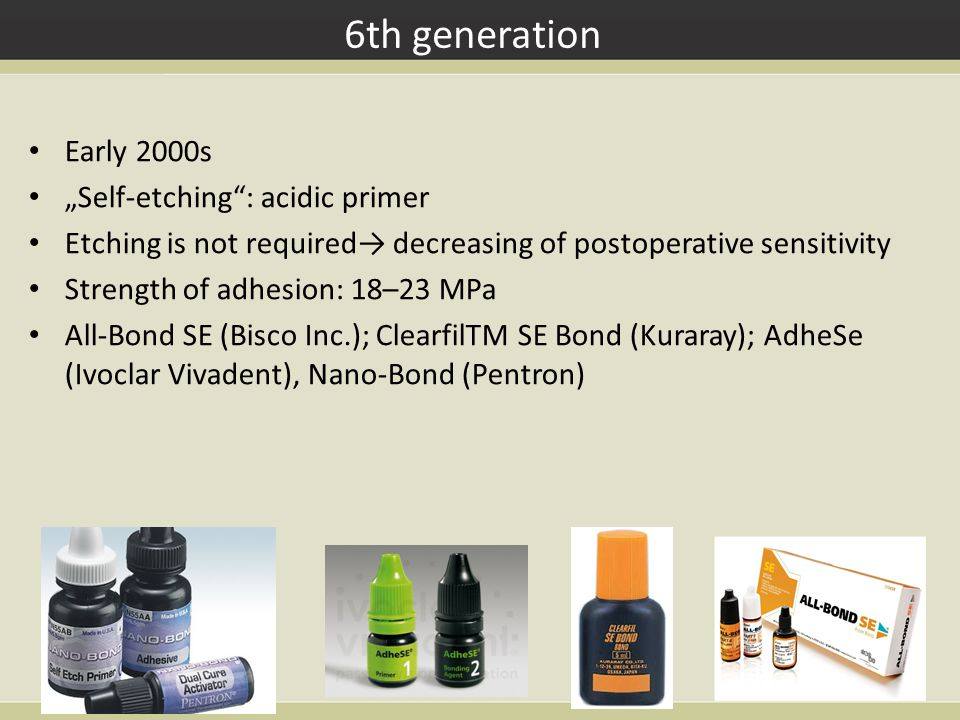 "6th generation Early 2000s ""Self-etching : acidic primer Etching is not required→ decreasing of postoperative sensitivity Strength of adhesion: 18–23 MPa All-Bond SE (Bisco Inc.); ClearfilTM SE Bond (Kuraray); AdheSe (Ivoclar Vivadent), Nano-Bond (Pentron)"