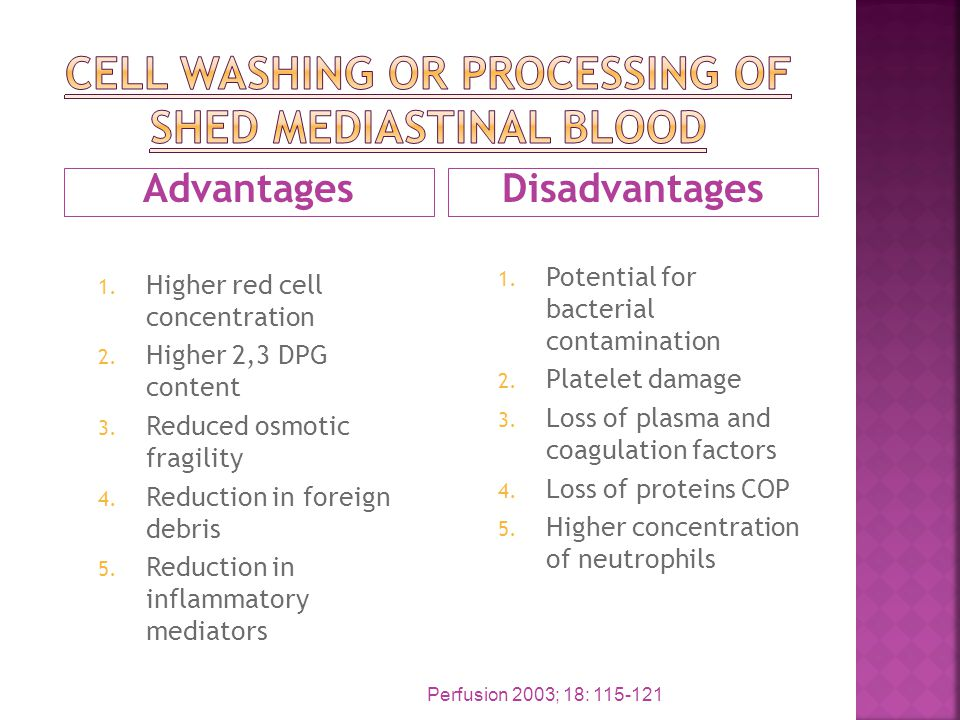 AdvantagesDisadvantages 1. Higher red cell concentration 2. Higher 2,3 DPG content 3. Reduced osmotic fragility 4. Reduction in foreign debris 5. Redu