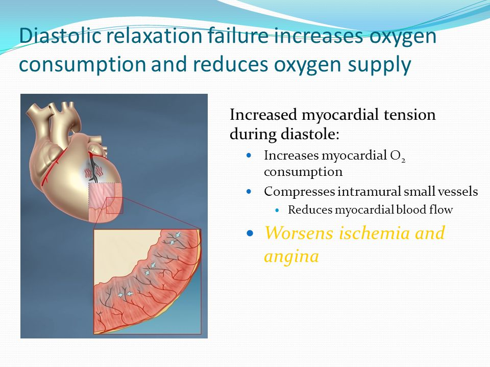 Diastolic relaxation failure increases oxygen consumption and reduces oxygen supply Increased myocardial tension during diastole: Increases myocardial O 2 consumption Compresses intramural small vessels Reduces myocardial blood flow Worsens ischemia and angina