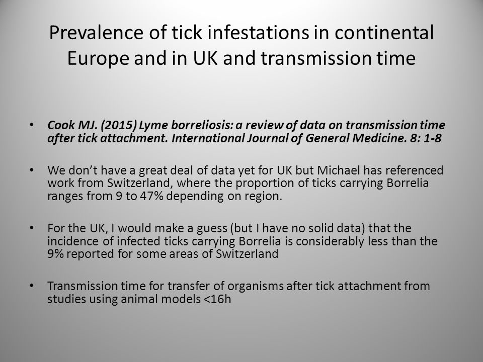 Prevalence of tick infestations in continental Europe and in UK and transmission time Cook MJ. (2015) Lyme borreliosis: a review of data on transmissi