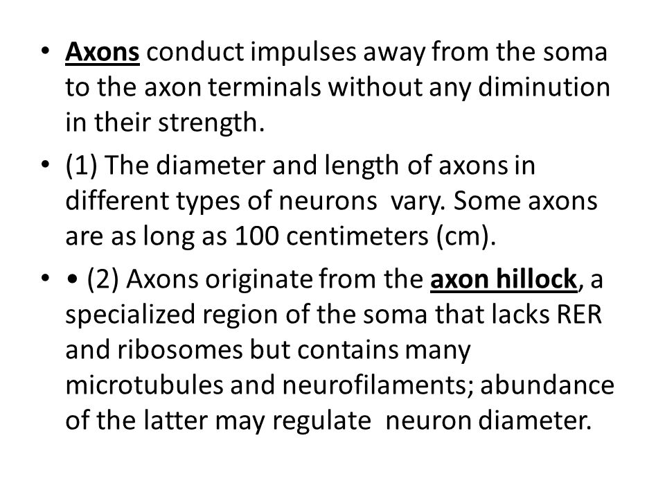 Axons conduct impulses away from the soma to the axon terminals without any diminution in their strength. (1) The diameter and length of axons in diff