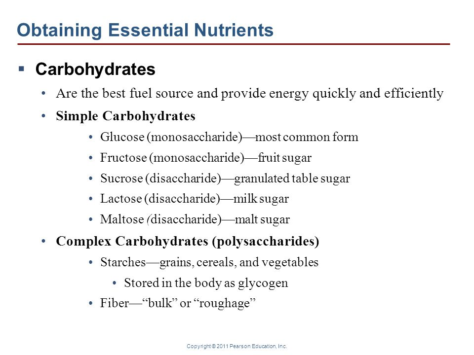 Copyright © 2011 Pearson Education, Inc. Obtaining Essential Nutrients  Carbohydrates Are the best fuel source and provide energy quickly and efficie