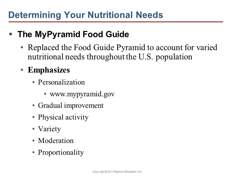 Copyright © 2011 Pearson Education, Inc. Determining Your Nutritional Needs  The MyPyramid Food Guide Replaced the Food Guide Pyramid to account for
