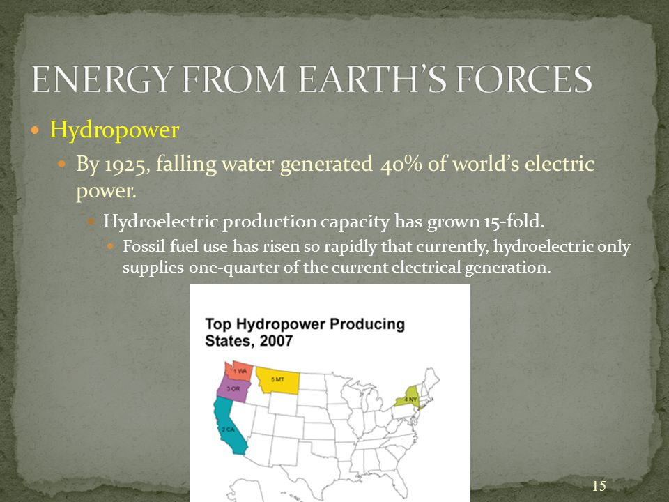 15 Hydropower By 1925, falling water generated 40% of world's electric power. Hydroelectric production capacity has grown 15-fold. Fossil fuel use has