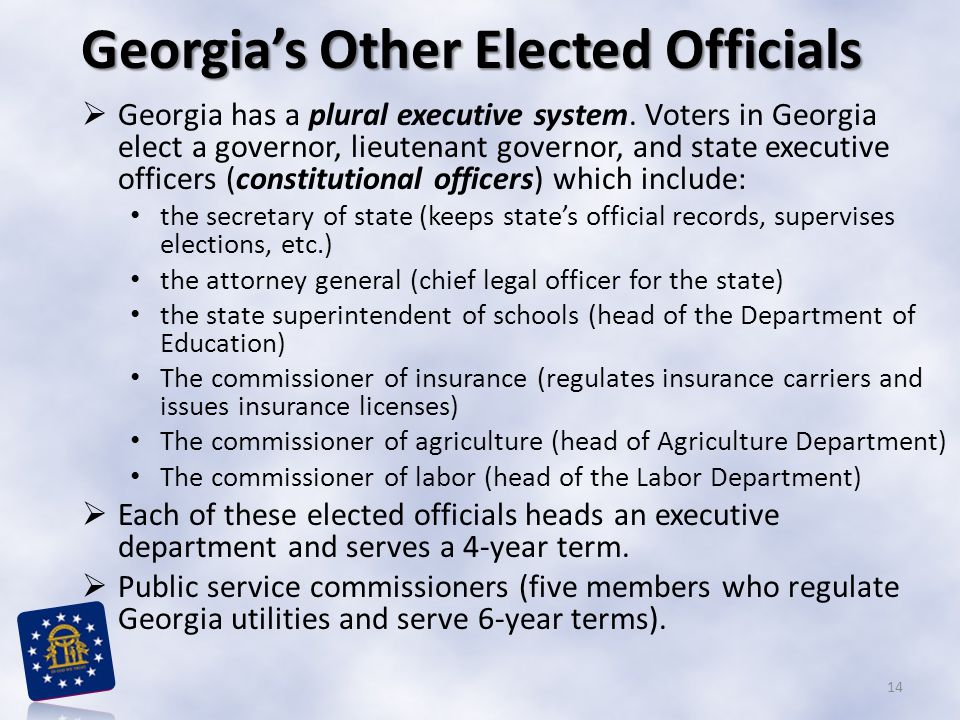 Georgia's Other Elected Officials  Georgia has a plural executive system. Voters in Georgia elect a governor, lieutenant governor, and state executiv