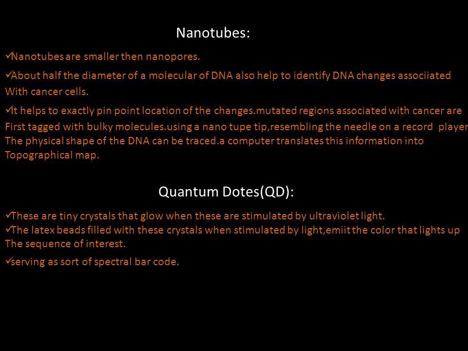 Nanotubes: Nanotubes are smaller then nanopores.