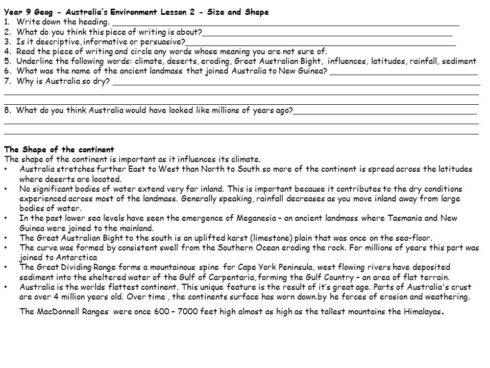 Year 9 Geog - Australia's Environment Lesson 3 - Origins – Aboriginal perspective 1.Write down the heading.