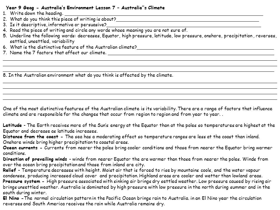 Year 9 Geog – Australia's Environment Lesson 10 Reading Activity – Australia' s Flora and Fauna 1.Write down the heading.